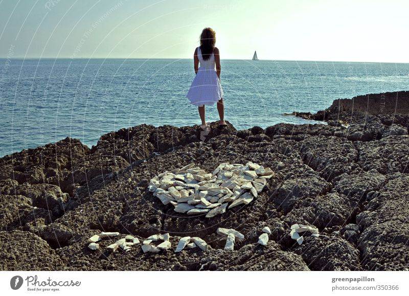 Woman Youth (Young adults) Vacation & Travel Blue Beautiful Summer Ocean Young woman Adults Far-off places Eroticism Feminine Coast Gray Horizon Heart