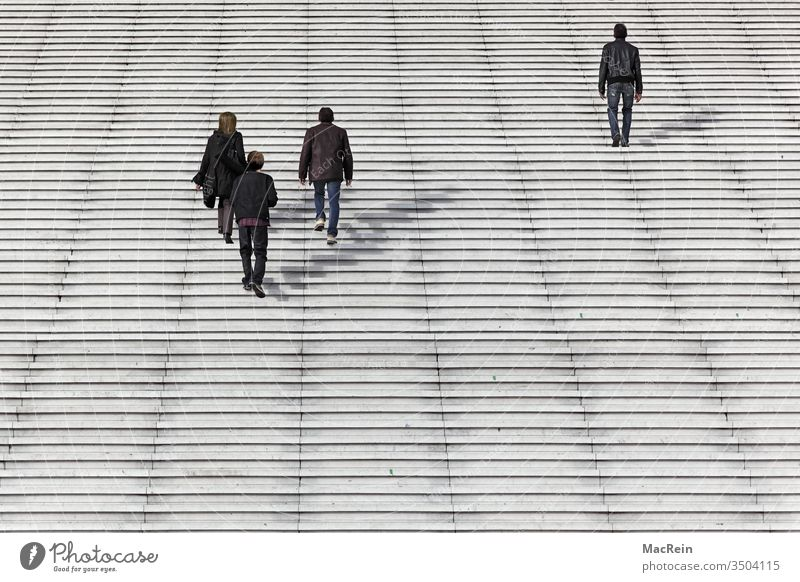 On the way to work people Clerk Stairs stair treads staircase La Défence Paris France Europe Banking district High-rise High-rise district
