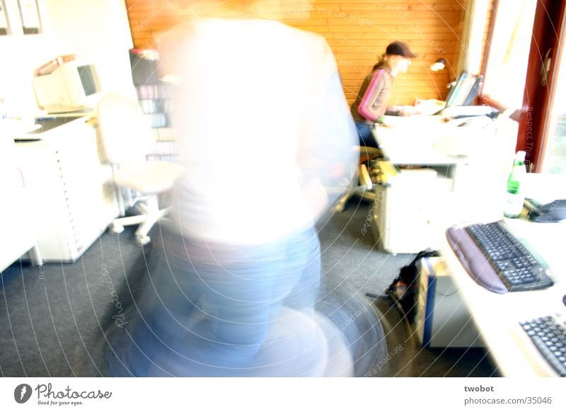 uuuuuuh, let's twist again Office work Wood Rotate Whirlwind Work and employment Workplace Yellow White Long exposure Overexposure Snapshot Office chair Jeans