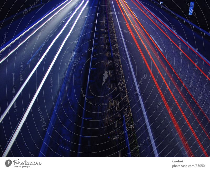 pulse of time Long exposure Speed Highway White Red Traffic lane Driving Time Transience Slowly Blue Bluish The hands of the clock are racing.