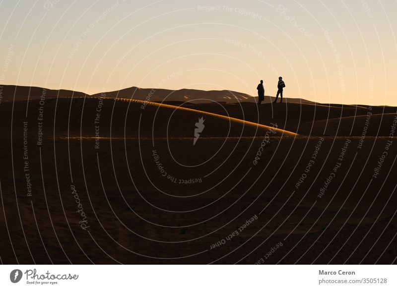 silhouette of two people in the sand dunes. Sunset in the Sahara desert. outdoor person sunset nature travel freedom majestic color image full length adventure