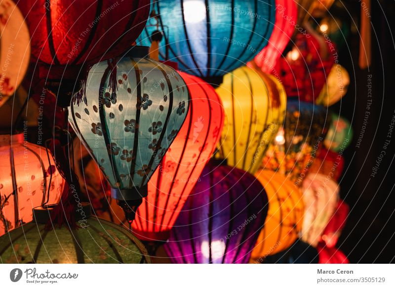 Beautiful traditional illuminated vietnamese silk lanterns. typical Hoi An handmade colorful lanterns hoi an art celebration indochina bamboo town festival lamp