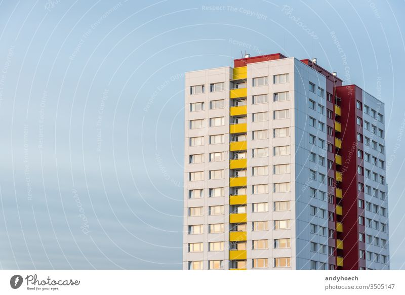 Single skyscraper in clear blue sky in Berlin abstract apartment architecture Background beautiful beauty big city bright building buildings Business cityscape