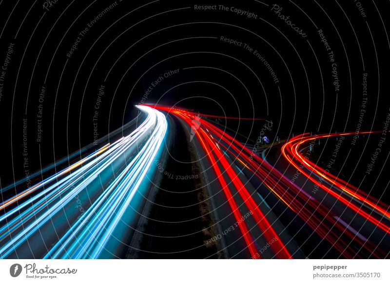 Long time exposure photographed from a bridge onto the highway Night Highway Long exposure Transport Light Car Traffic infrastructure Road traffic Speed