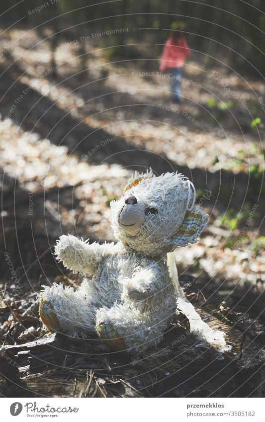 Little girl child walking away left forgot teddy bear on stump in a forest during a trip kid nature little childhood park person countryside natural outdoors