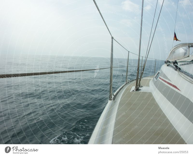 Parts of Adriatic Sea and 11 meter sailboat White Ocean Sailing Sailboat Watercraft Railing Navigation Blue Sky