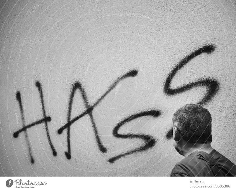 hatred Hatred furious Aggression Embitterment Graffiti Wall (building) Human being Man Head Animosity Frustration Cancelation sensation