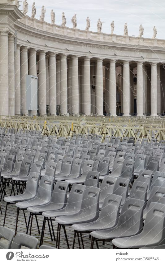 empty rows of chairs Chair Holy Gray Yellow columns plastic sacred chair Event Preparation lines Arrangement structure Safety Sit back seat public