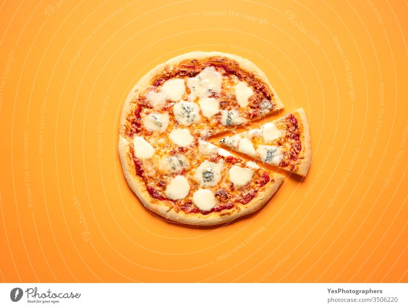 Classic pizza with a lot of cheese. Homemade pizza above view cardboard carton classic comfort food convenience food cut out delicious dinner fast food