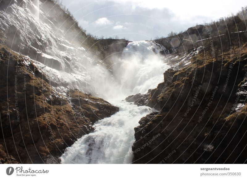 Kjosfossen Environment Nature Landscape Elements Water Clouds Bushes Moss Rock Mountain Waterfall Vacation & Travel Exceptional Fantastic Fluid Cold Wet