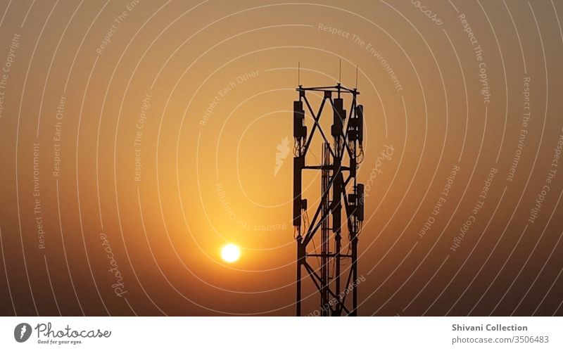 Telecommunication tower in India at the beautiful morning moments. Antenna background Beautiful scenery Blue broadcast Broadcasting Business cellular Clouds