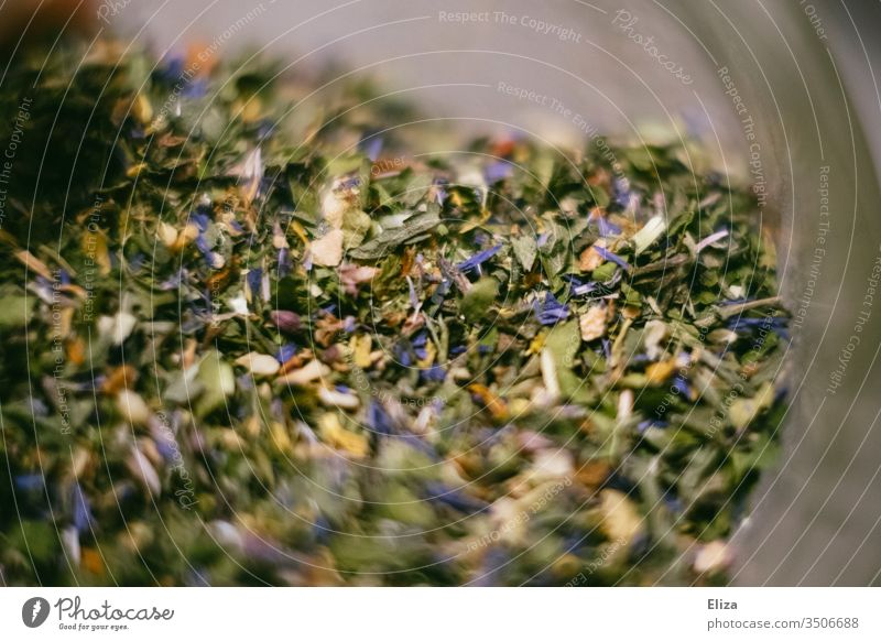 Close-up of a green herb mixture herbs Tea herbal mixture Salad herbs seasoning variegated Delicious Refine Food Eating Herbs and spices Aromatic bleed