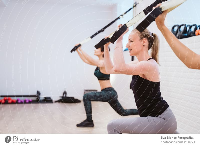 group of women practicing sport at the gym with trx. Healthy lifestyle dumbbells friends healthy indoors fitness training heavy care push press-ups girl male