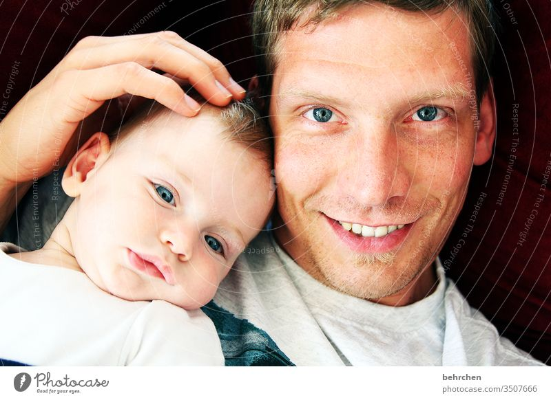 <3 Good mood Happiness cheerful fortunate Happy Laughter Smiling Safety Protection Cuddling Baby Light Day portrait Colour photo Interior shot Close-up Son Love