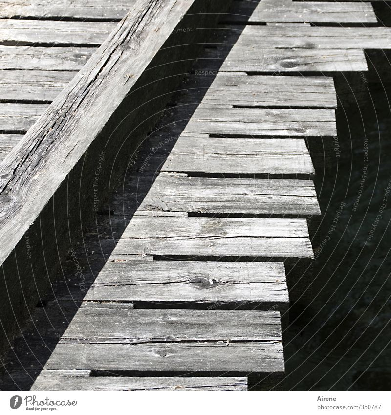 rough cut Brook Deserted Bridge Footbridge Traffic infrastructure Lanes & trails Wood Line Stripe Simple Natural Gray Black White Attachment Wooden rack