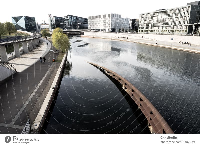 The Spree bank in Berlin in Corona times corona void spring wide view houses Water bridge Architecture Capital city River Germany Town Exterior shot Downtown