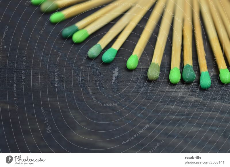 compliant | Matches with different green heads on black wood - background matches Ignite Fire Collection Pattern open space Green Black Side by side inflame