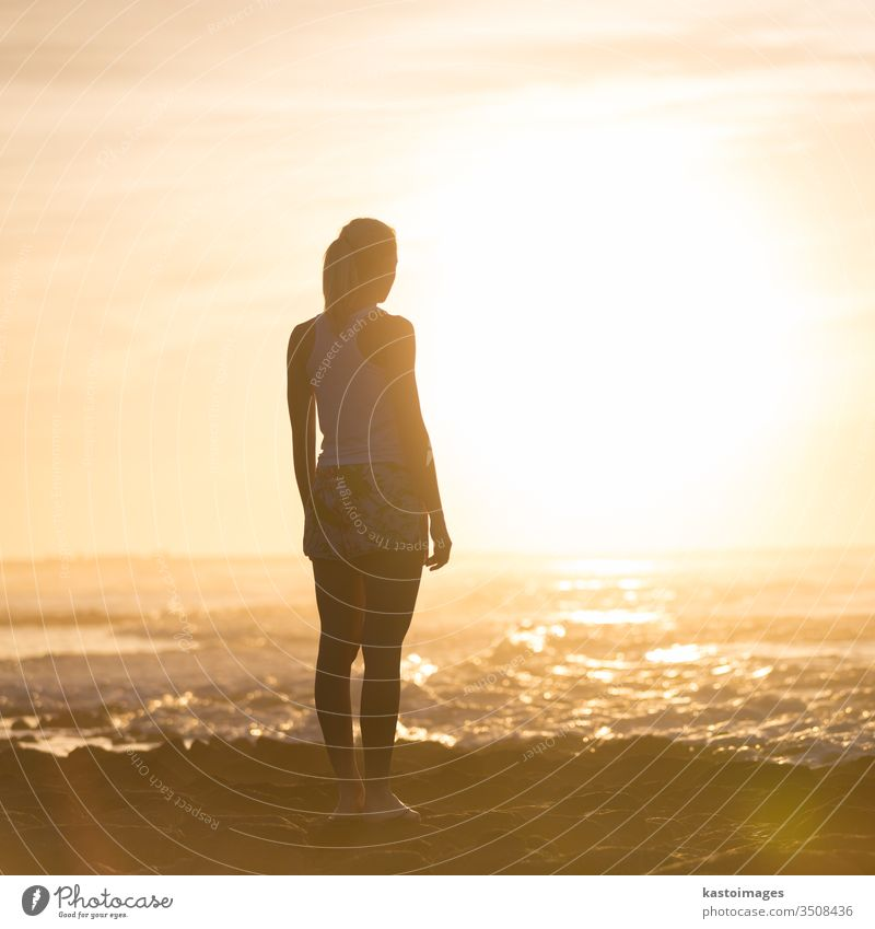 Woman on sandy beach watching sunset. person woman female beautiful outside girl silhouette nature summer lifestyle view adult ocean sunshine leisure serene
