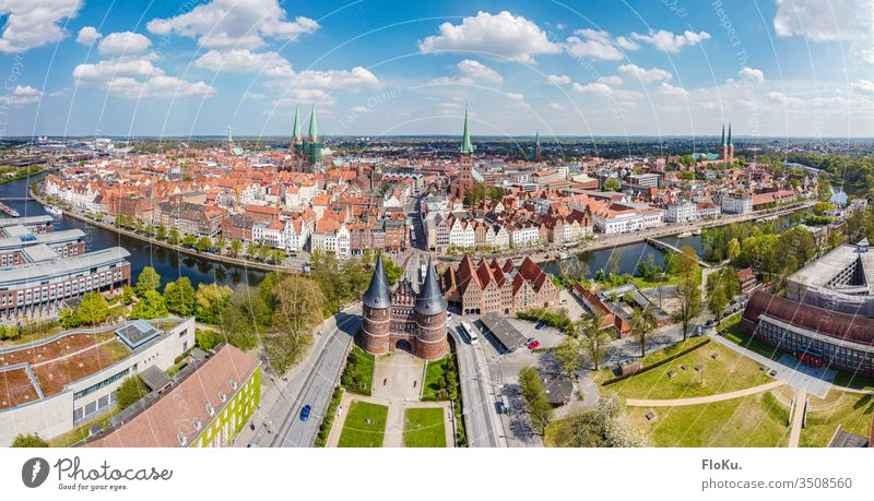 Panorama of the complete old town of Lübeck Aerial photograph Old town Hanseatic City Hanseatic League Town Trave holstentor Tourist Attraction