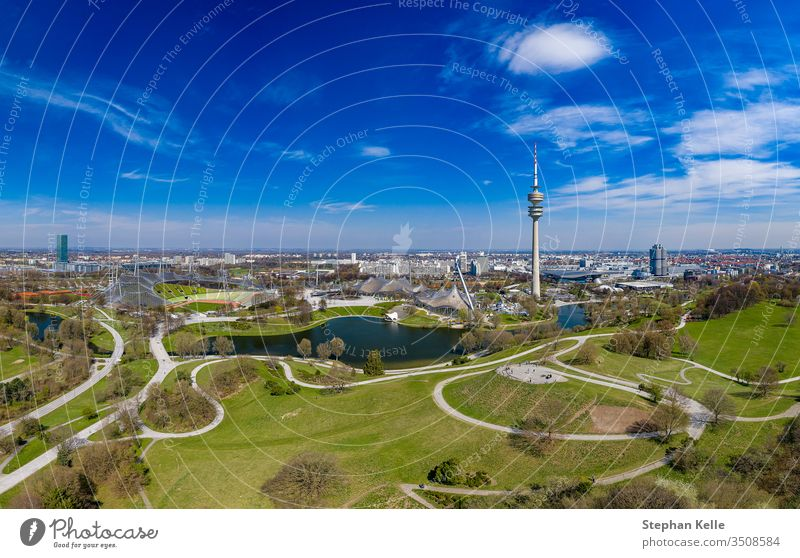 Attractive view at the Olymic Park by a flight over Munich at springtime. munich aerial panorama beauty blue sky impressive living feel well popular german