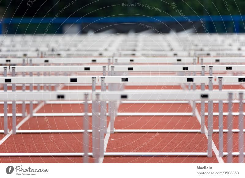 Hurdles hurdles Hurdle run Steeplechase obstacle Track and Field race Foot race Summer course Sports competitive sports out Stadium arene Racecourse nobody