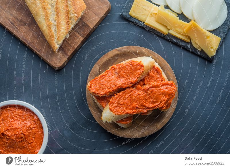 Sobrasada isolated typical food in Mallorca spain appetite appetizer baguette bread breakfast canape cheese closeup cuisine delicious eat eating gourmet ham