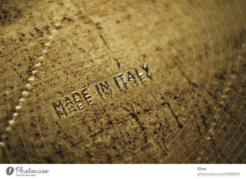 Golden object on which Made in Italy is written structure made in italy produced manufactured Produce Colour photo maggot wood Production imported writing deal