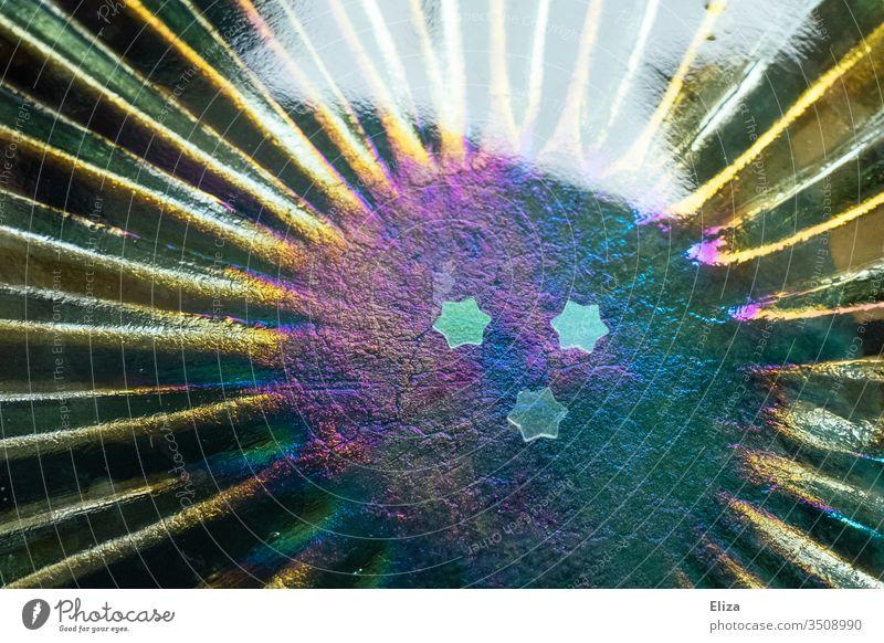 Three small stars on iridescent glass in rainbow colours Rainbow variegated three Decoration glitter Glimmer purple Christmas pretty Glittering ornamental