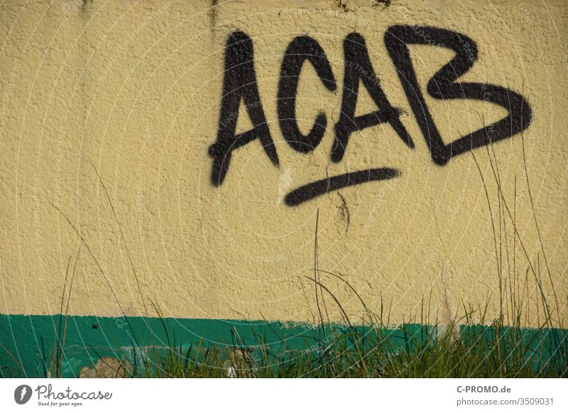 lettering ACAB as graffiti on the wall All cops are bastards A.C.A.B. Graffiti Police Force Wall (building) antifa acab