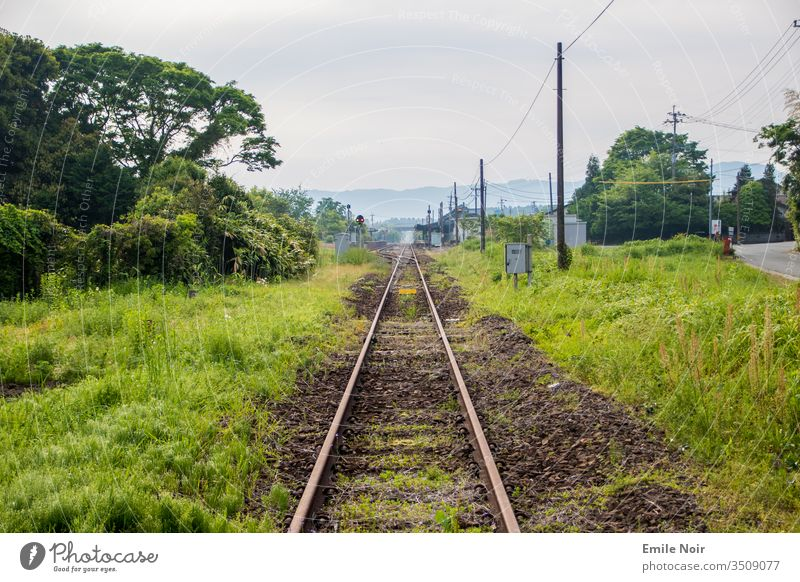 Lonely track in the mountains Track bed rails Nature Old overgrown jungles Volcano Aso Japan