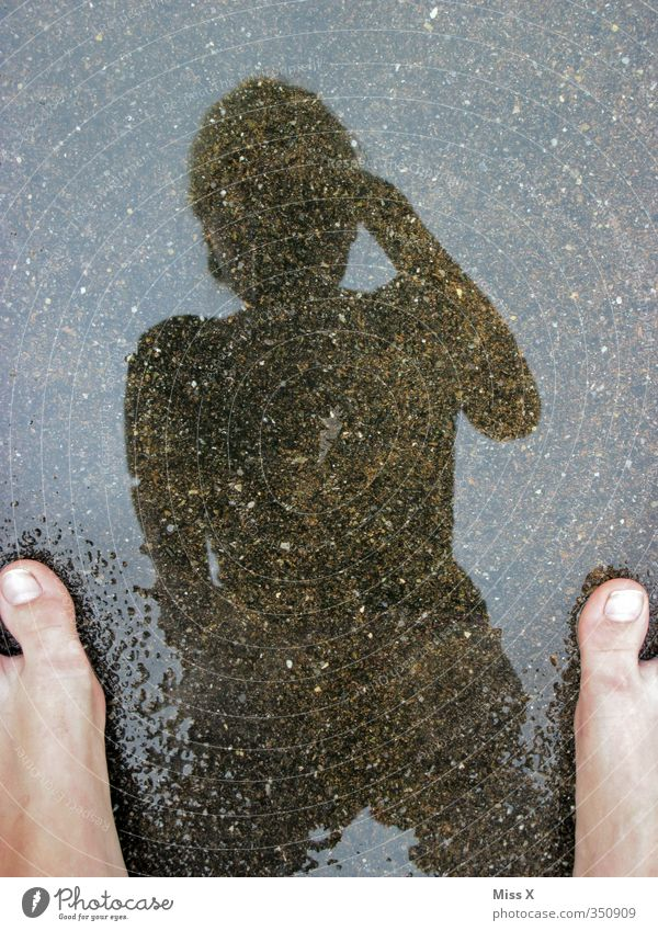 barefoot Human being Feet 1 Water Wet Take a photo Mirror image Puddle Colour photo Exterior shot Copy Space top Shadow Silhouette Reflection Bird's-eye view