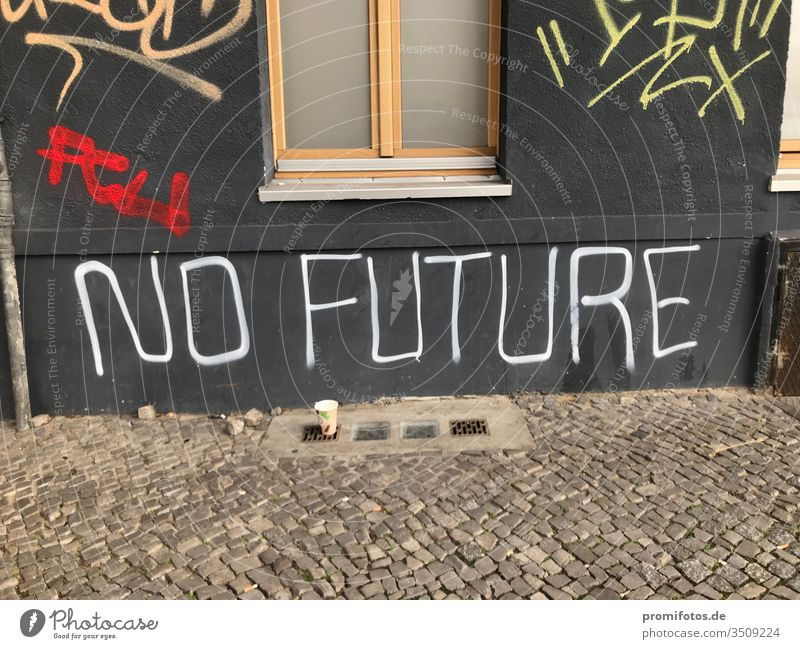 "Graffiti on a house wall: Punk quote: ""No Future"". Seen in Berlin. Photo: Alexander Hauk no future Art manner Germany White Gray Black Cobblestones daylight"