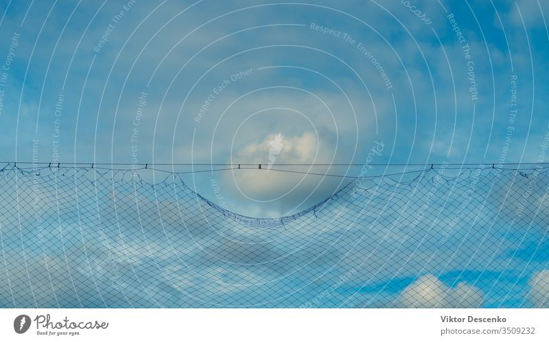 Cloud in the blue sky near the grid barrier background design abstract silhouette border pattern sport football soccer texture nature construction safety mesh