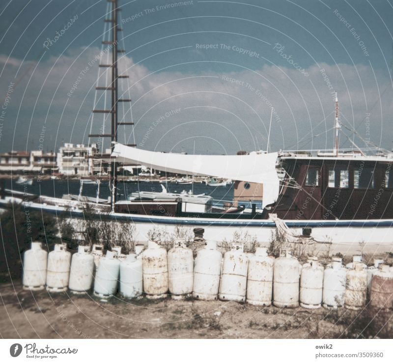 Hellas 1994 old photo Past Harbour Gas cylinder boat Maritime Exterior shot Navigation Colour photo Old Deserted Water Fishing boat fishing cutter Blue Greece