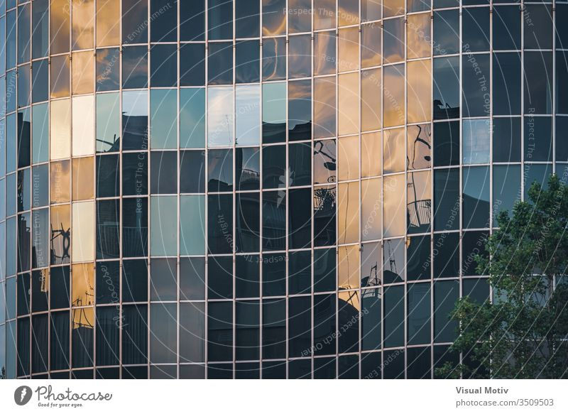 Afternoon lights reflected on the curved glass facade of an office building abstract abstract background abstract photography afternoon architectonic