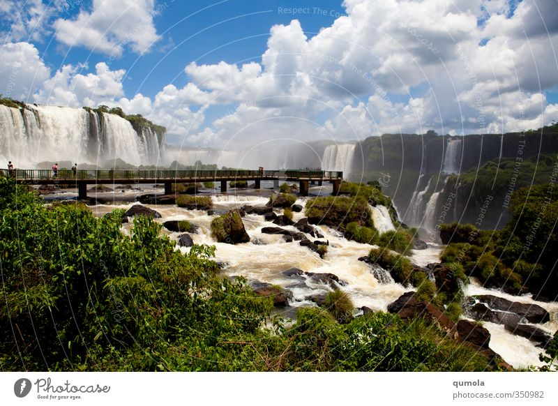 Foz do Iguazu - Brasilien side Nature Green Water Relaxation Clouds Environment Energy Elements Might Exotic Waterfall Innovative Bridge pier Iguazu Falls