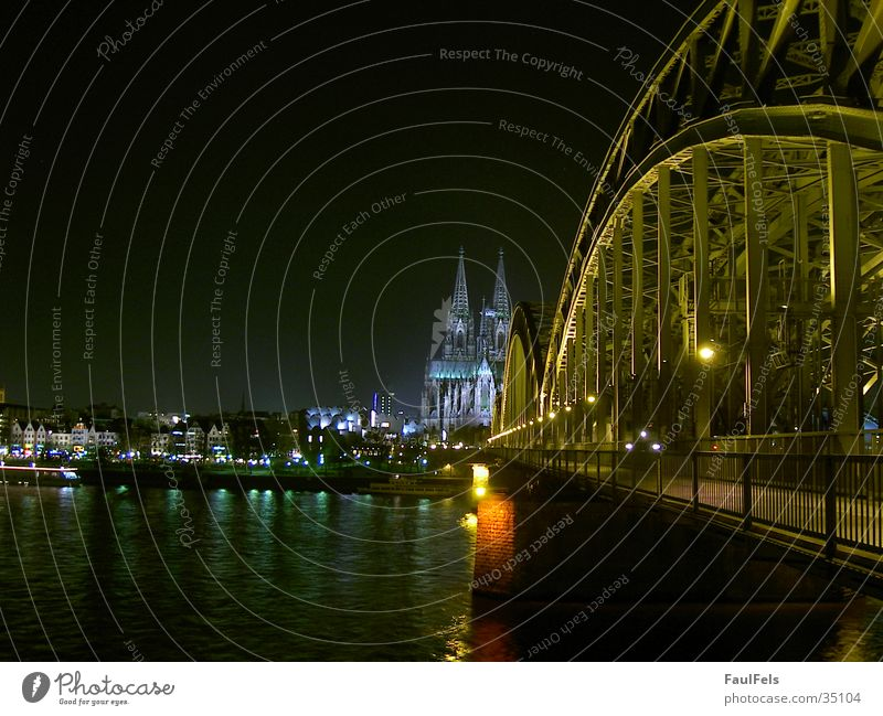 Cologne at night Panorama (View) Night Hohenzollern Bridge Berlin Philharmonic Europe Dome Railroad Large