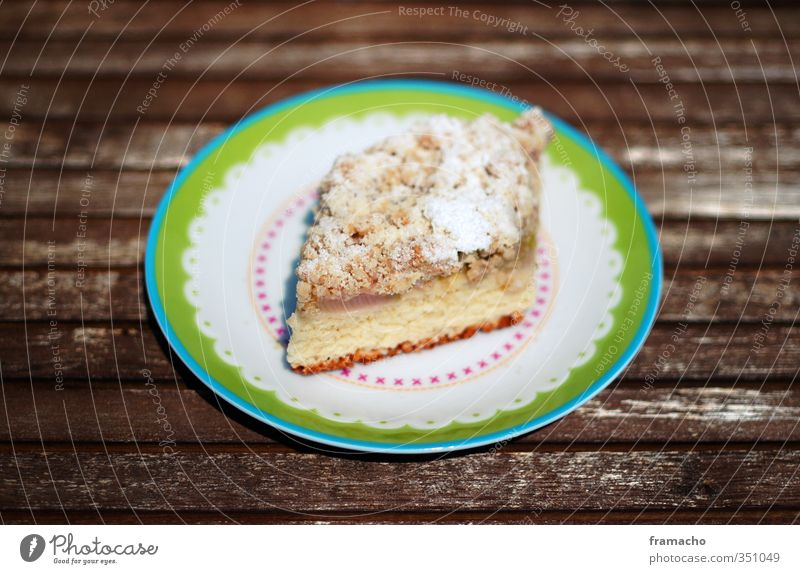 rhubarb cake Food Cake Candy Nutrition To have a coffee Slow food Rhubarb Granules Plate Well-being Contentment Decoration Eating Feeding To enjoy Delicious
