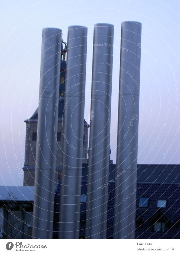 Church and Pipes Cologne Superimposed Architecture Religion and faith Chimney Old Modern