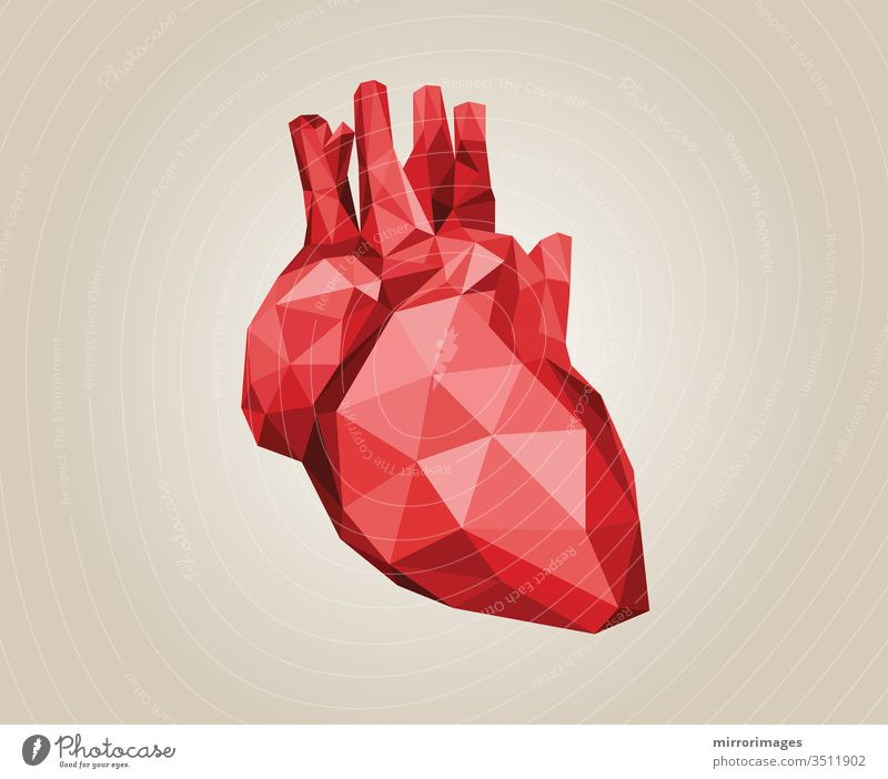 stylized geometric low polygonal triangle heart red on tan brown background icon illustration medical anatomy cardiology graphic vector artery vein blood