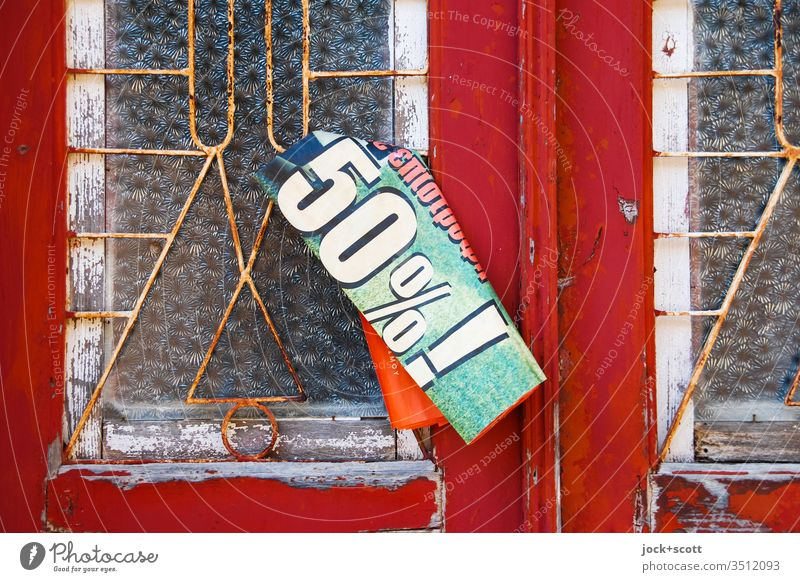Input for 50% ! Ravages of time Transience Decline Style door Retro Old Detail Weathered Clue Greek fixed Typography Characters forsake sb./sth. Percent sign