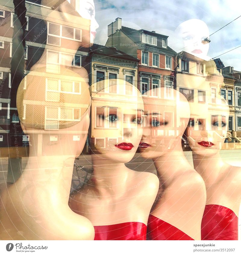Dolls in the shop window peer makeup Make-up dream Gorgeous dreamlike view House (Residential Structure) houses Street Mirror image mirror Whimsical hazy Lips