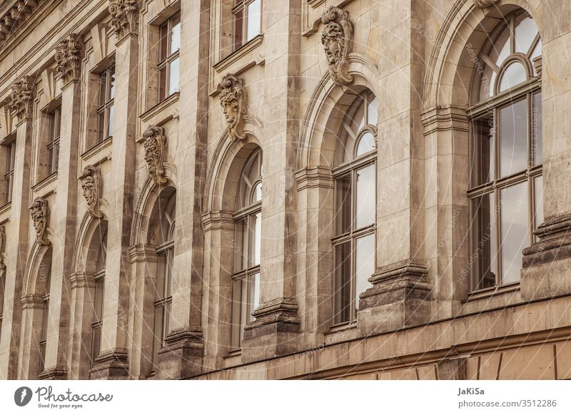 Historical facade of an old building built Architecture House (Residential Structure) Facade Window Berlin Town Exterior shot Day Manmade structures Old town
