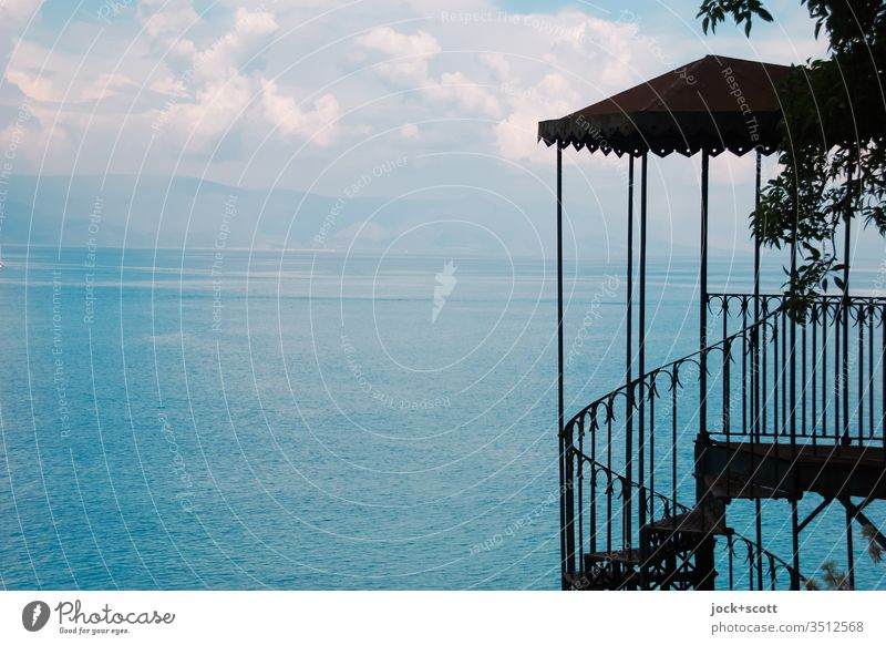 sea view Corfu Greece Sky Beautiful weather ionic sea Ionian Islands Stairs Banister Back-light Silhouette Far-off places Panorama (View) Horizon canopy