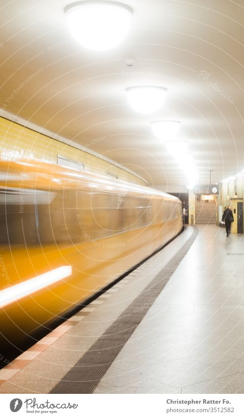 Berlin subway at the entrance underground Underground Subway station PUBLIC TRANSPORT Local traffic Means of transport Yellow Movement Train station Station