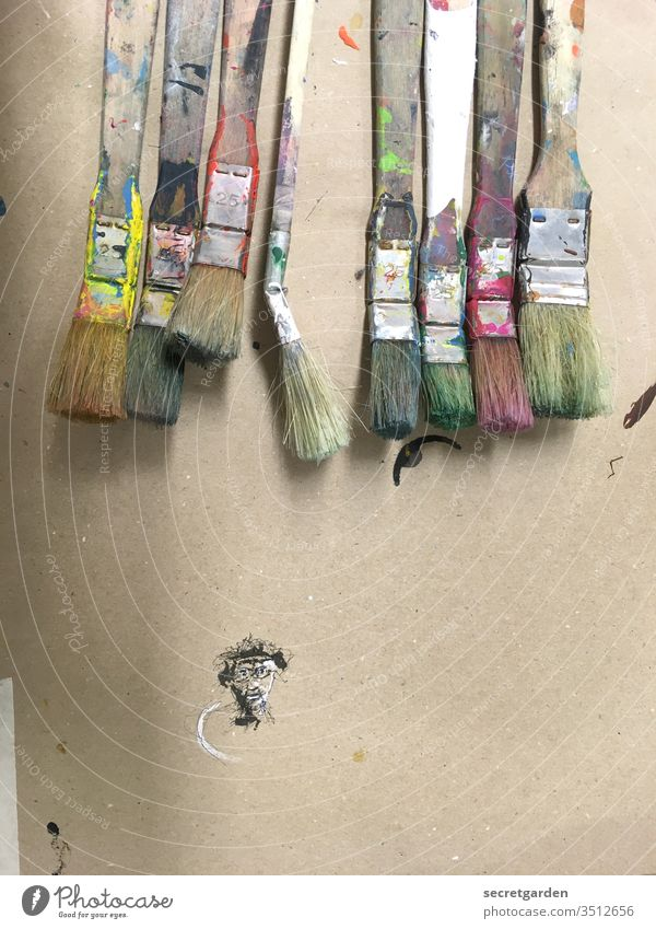 Creative phase Paintbrush Painting (action, artwork) Art creatively Creativity cartoon Cardboard variegated Colour Paint traces Dirty Face Minimalistic