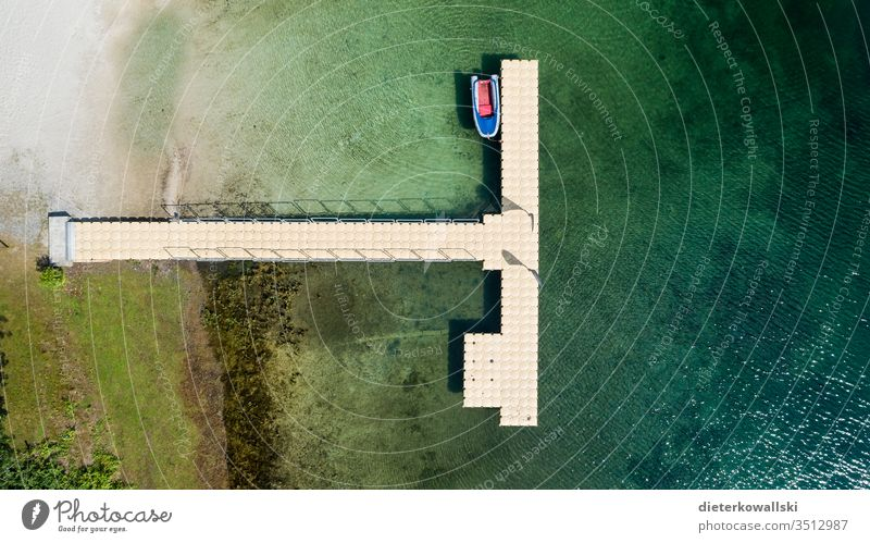 jetty Long distance travel Wanderlust broke corona Holidaymakers Deserted Tourism Summer vacation Travel Restriction Vacation & Travel boat Lake Day Water
