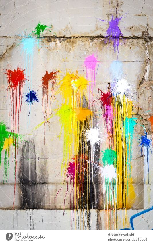 Variegated colored glitter Colour variegated colour eclectics Multicoloured motley Graffiti protest green Blue paint bag Throw klekse Vandalism