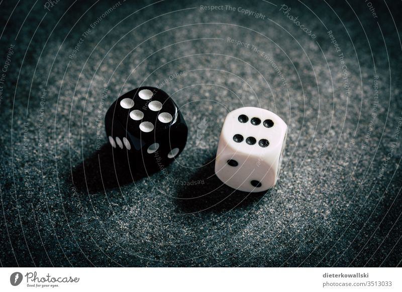 dice cubes Fate double black and white Playing Close-up Digits and numbers Game of chance luck Throw dice Leisure and hobbies Crap game 6 Compulsive gambling