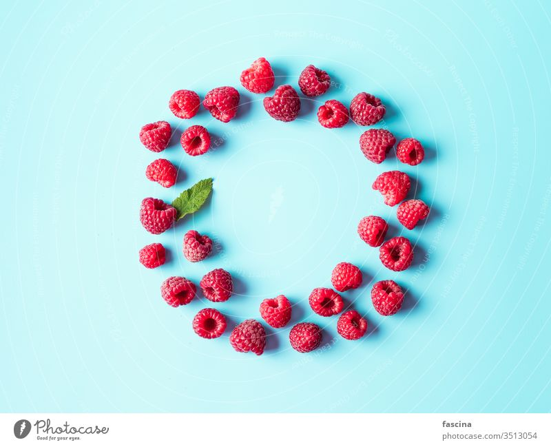 Raspberry in round shape on blue, copy space raspberry background raspberries isolated top view food color summer lay diet fresh flat vegan overhead concept